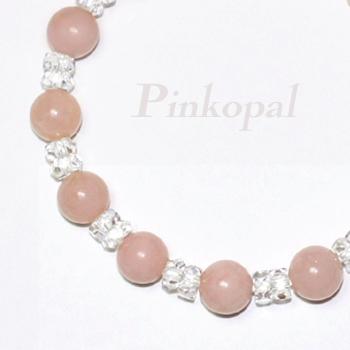 ピンクオパールと水晶のブレスレット