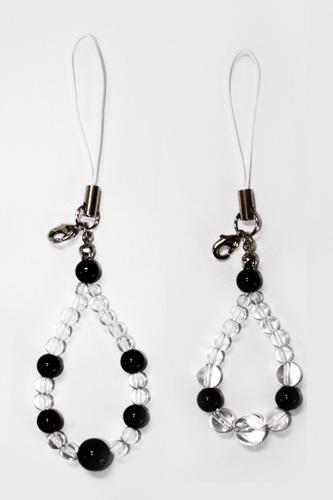 オニキスと水晶の携帯ストラップ手作りキット